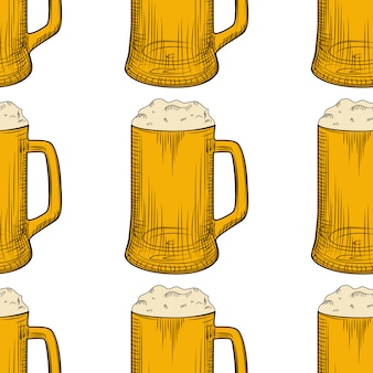 ビールジョッキシームレスパターン。泡とフルビールのグラス。
