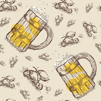 Beer mug seamless pattern oktoberfest festival