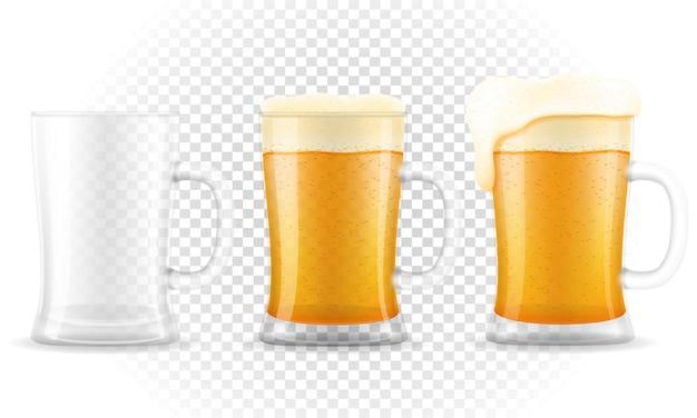 Beer in mug on transparent