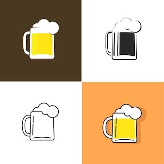 パブまたは醸造所のシンボルテンプレートデザイン画像のビールジョッキベクトル分離アイコンまたはロゴ