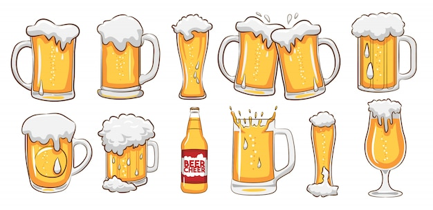 Beer mug vector set clipart