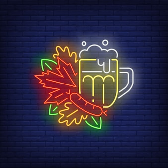 Beer mug with autumn leaves neon sign.