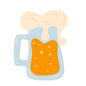 Beer mug with foam. alcohol drink. frothy tankard of golden beer with a good head
