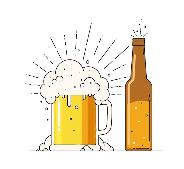 Пивная кружка с пеной и бутылкой. знак алкогольных или безалкогольных напитков в плоский на белом фоне.