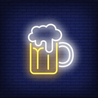 Beer mug with froth on brick background. neon style illustration. pub, bar, oktoberfest