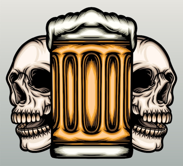 Beer mug with skull in hand drawn