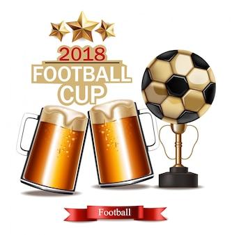 맥주 잔과 축구 컵 우승자