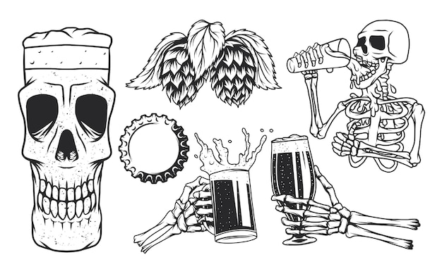 Пивные кружки, скелет, пьющий пиво, пивная кружка с черепом, чашка и хмель.