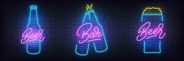 Beer neon set, glowing lettering beer signs for bar, pub