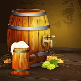 Beer oak mug barrel background banner
