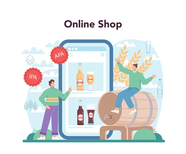 Beer online service or platform glass bottle and vintage mug