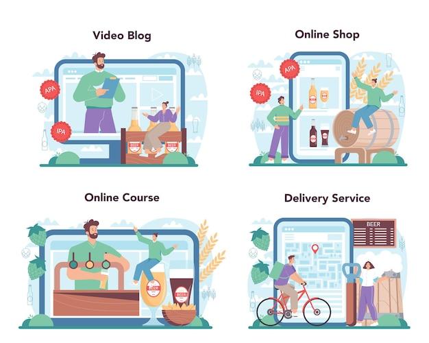 Beer online service or platform set glass bottle and vintage mug