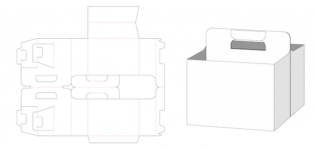 Beer packaging box and carried holder die cut template