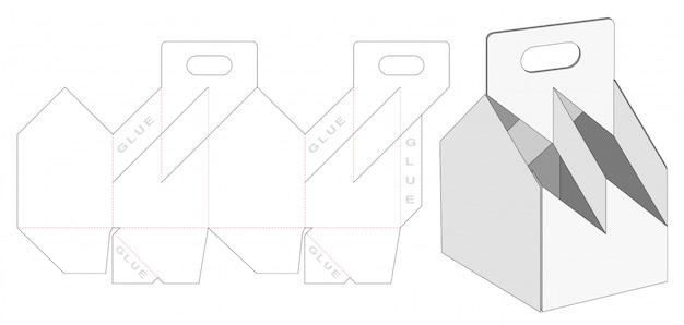 Beer packaging box with carried holder die cut template