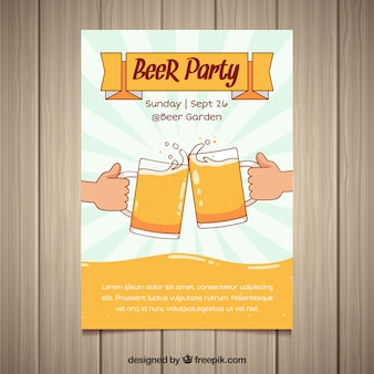 Beer party poster with hand drawn style