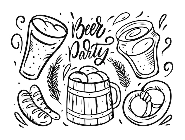 Beer party vector compositionset isolated on white