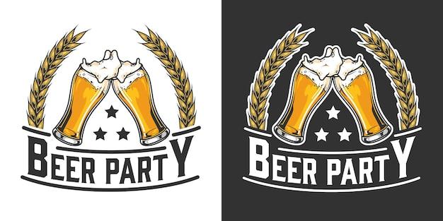 Винтажный логотип пивной вечеринки с колосьями пшеницы и стаканами, полными пенистого напитка