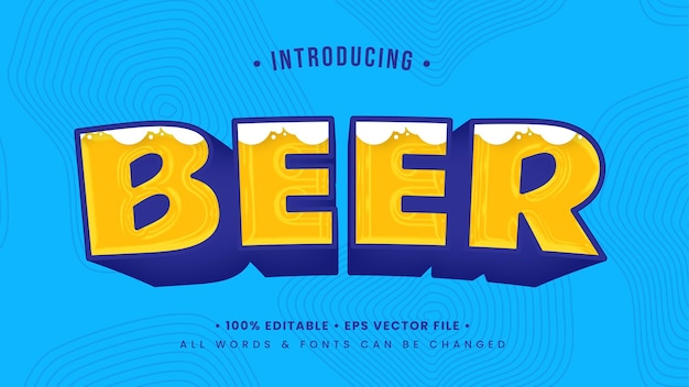Beer playful 3d text style effect. editable illustrator text style.