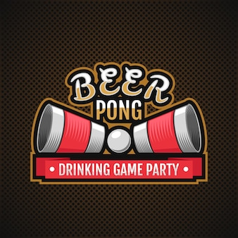 ビアポンのロゴ。酒合戦パーティー 無料ベクター