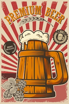 Beer poster in retro style. beer objects on grunge background.  element for card, flyer, banner, print, menu.  illustration