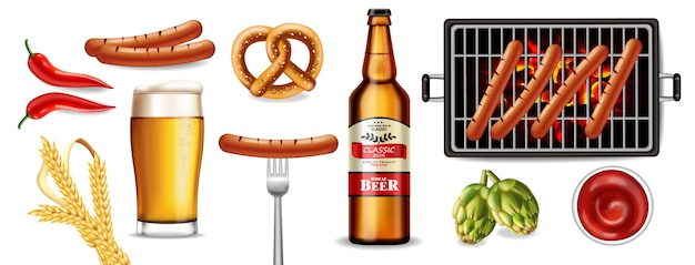 Beer, pretzel and grilled sausage