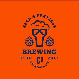 Beer and pretzels abstract  retro symbol or logo template. vintage typography premium brewing sign. glass with foam and bagel creative emblem.