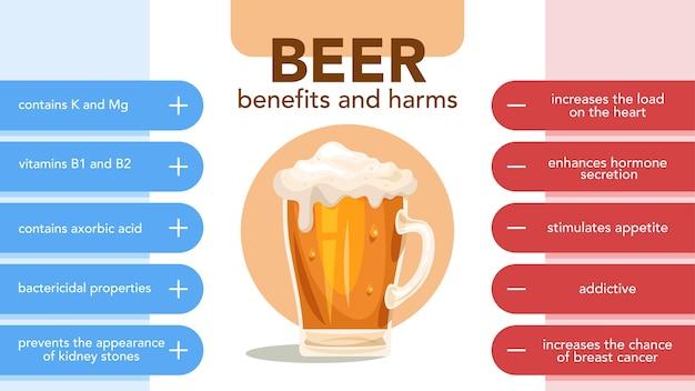 ビールの長所と短所のインフォグラフィック。ビールを飲む効果と結果。図