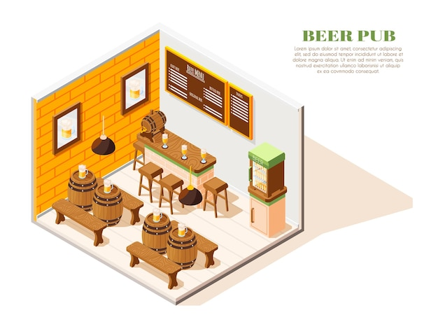 Beer pub interior isometric composition with menu board coolers oak tables benches barrels full glasses