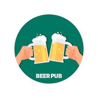 Beer pub vector icon design. two hands holding beer glasses