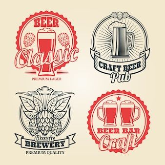 Beer and pub vintage label set