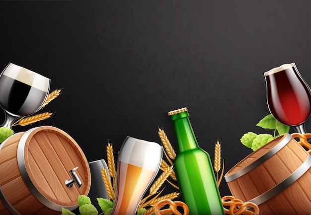 Beer realistic background frame with empty space surrounded by beer glasses bottles barrels and hop plants