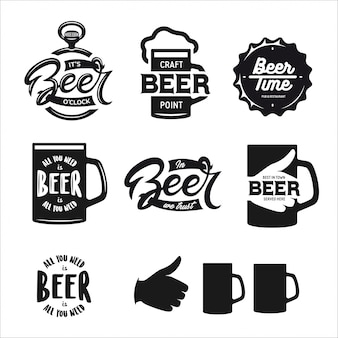 Beer related typography set. vector vintage lettering.