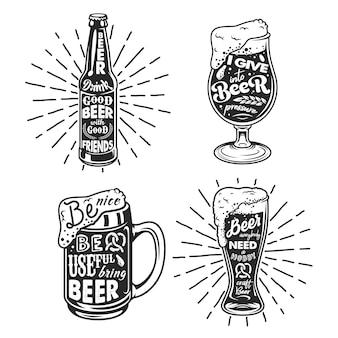 ビール関連のタイポグラフィ。