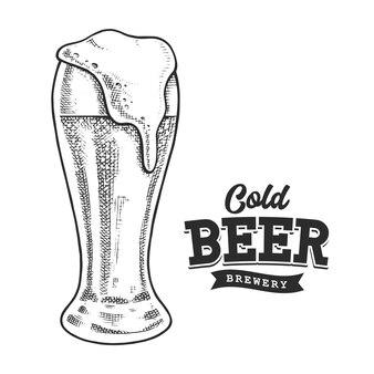 Пиво ретро эмблема черно-белая. шаблон логотипа с черно-белыми буквами и эскизом пивного бокала.