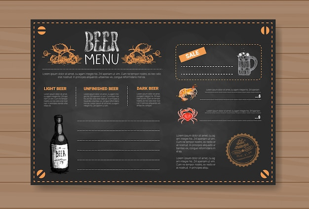 Beer and sea food menu design for restaurant cafe pub chalked