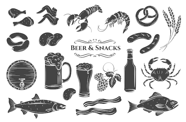 Beer and snack glyph isolated icons set. black on white illustration for pub shop label
