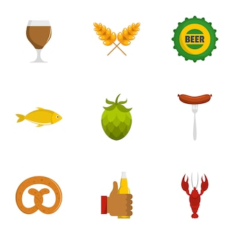Beer snack icons set. flat set of 9 beer snack vector icons