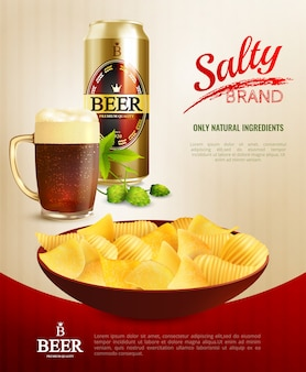 Beer snacks background poster
