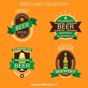 Beer sticker collection with white letters