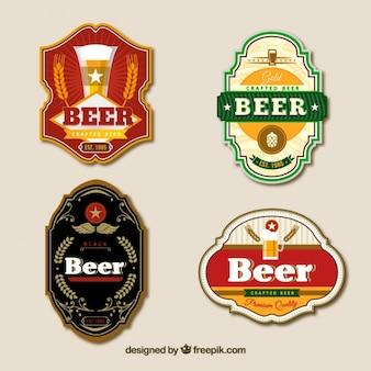 Наклейки пива в стиле винтаж