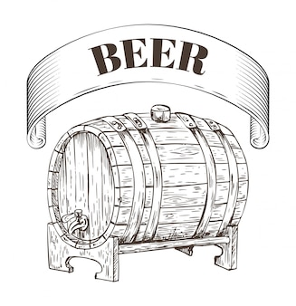 Beer storage wooden barrel illustration