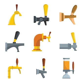 Beer tap icons set
