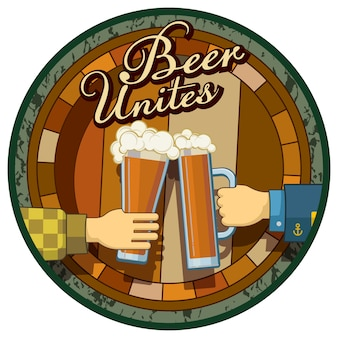 Пиво тема изображения круглые метки, изолированных на белом фоне. пиво объединяет! шаблон для меню, этикетки, костер или плакат для бара, паба