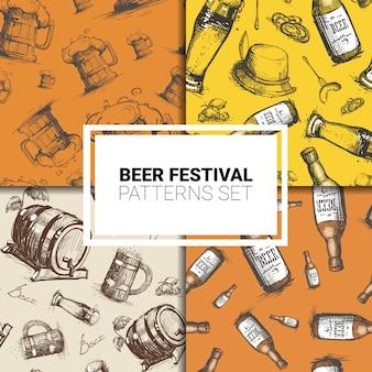 Beer theme seamless pattern set