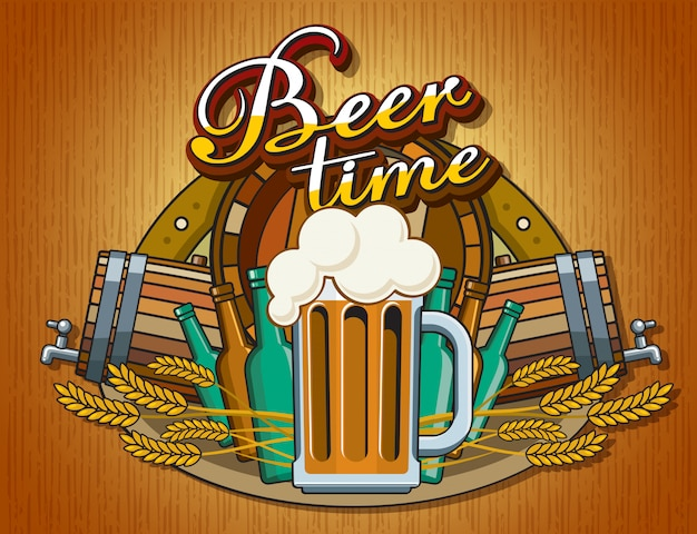 Beer-themed poster featuring a beer mug with foam. glass mug in flat style on the background of a collage of themed items: barrel, ears of wheat, bottles, the inscription beer time