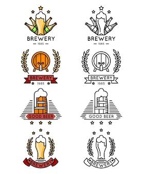 ビール細線ロゴセット。マグカップとボトル、樽とビール樽がセットされたビールのロゴ