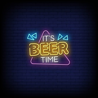 Beer time neon signs style text
