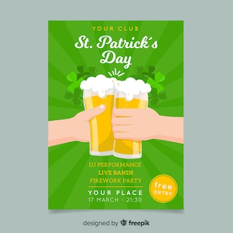 Beer toast st patrick's day poster template