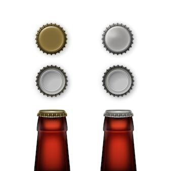 Прозрачные коричневые стеклянные горлышки бутылок пива с крышками разного цвета сверху вид сзади для брендинга крупным планом на белом фоне