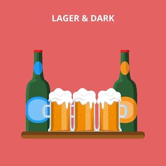 Типы пива. иллюстрация веб-сайта концепции бутылки лагера и темных стекол.
